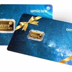Sztabka złota 1 g umicore gift card